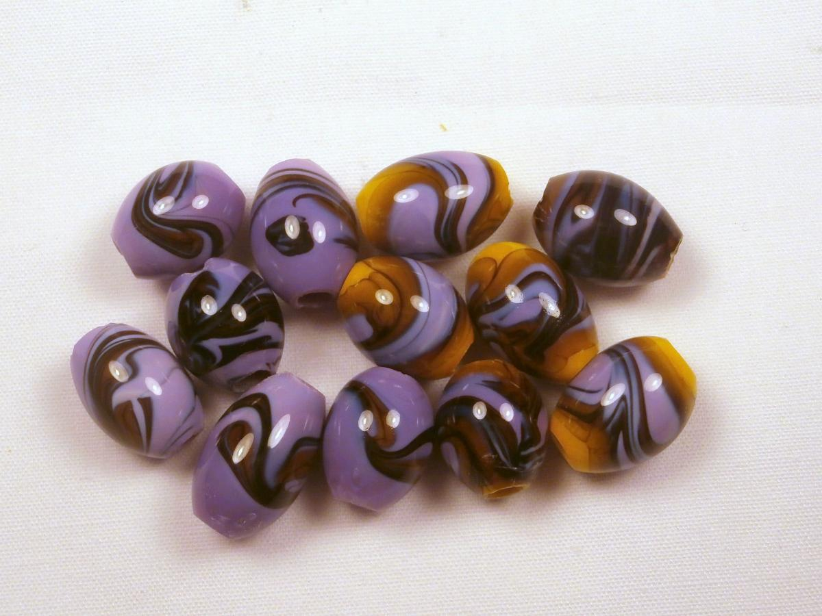 Gorgeous Purple and Yellow Swirl Lampwork Beads
